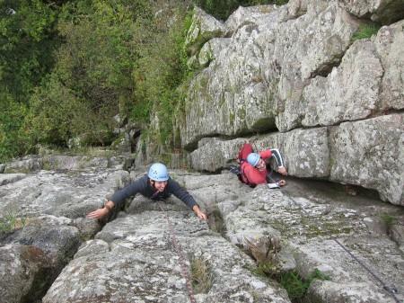 Climbing in Devon at the Dewerstone.