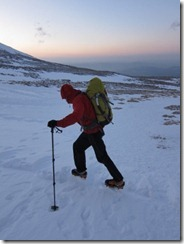 Matt walking on top of the raised footprints on the walk out. Plenty of scouring going on at the moment.