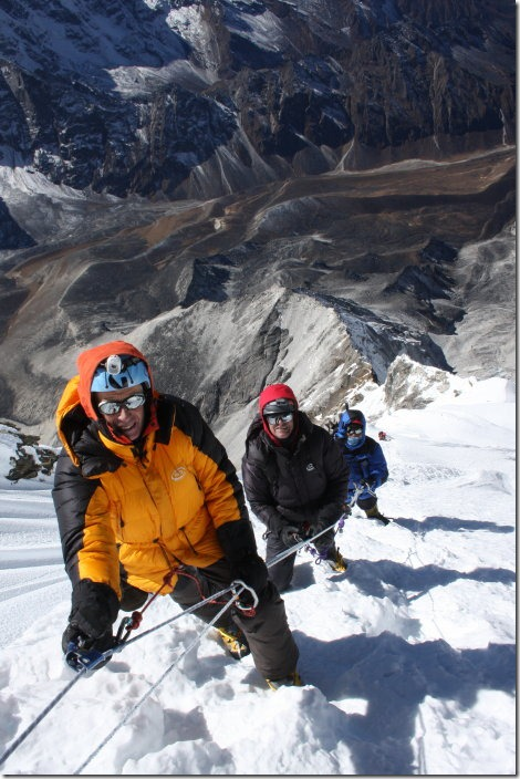 The top snowfield requires determination. (We're just below the summit in this photo)