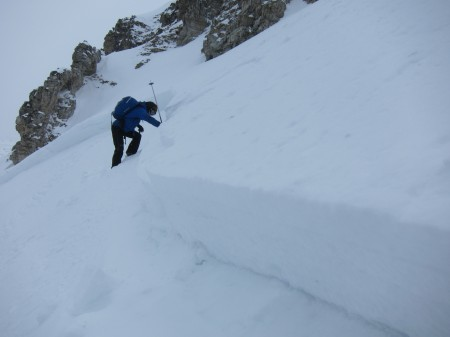 Mike investigating a skier triggered crown wall