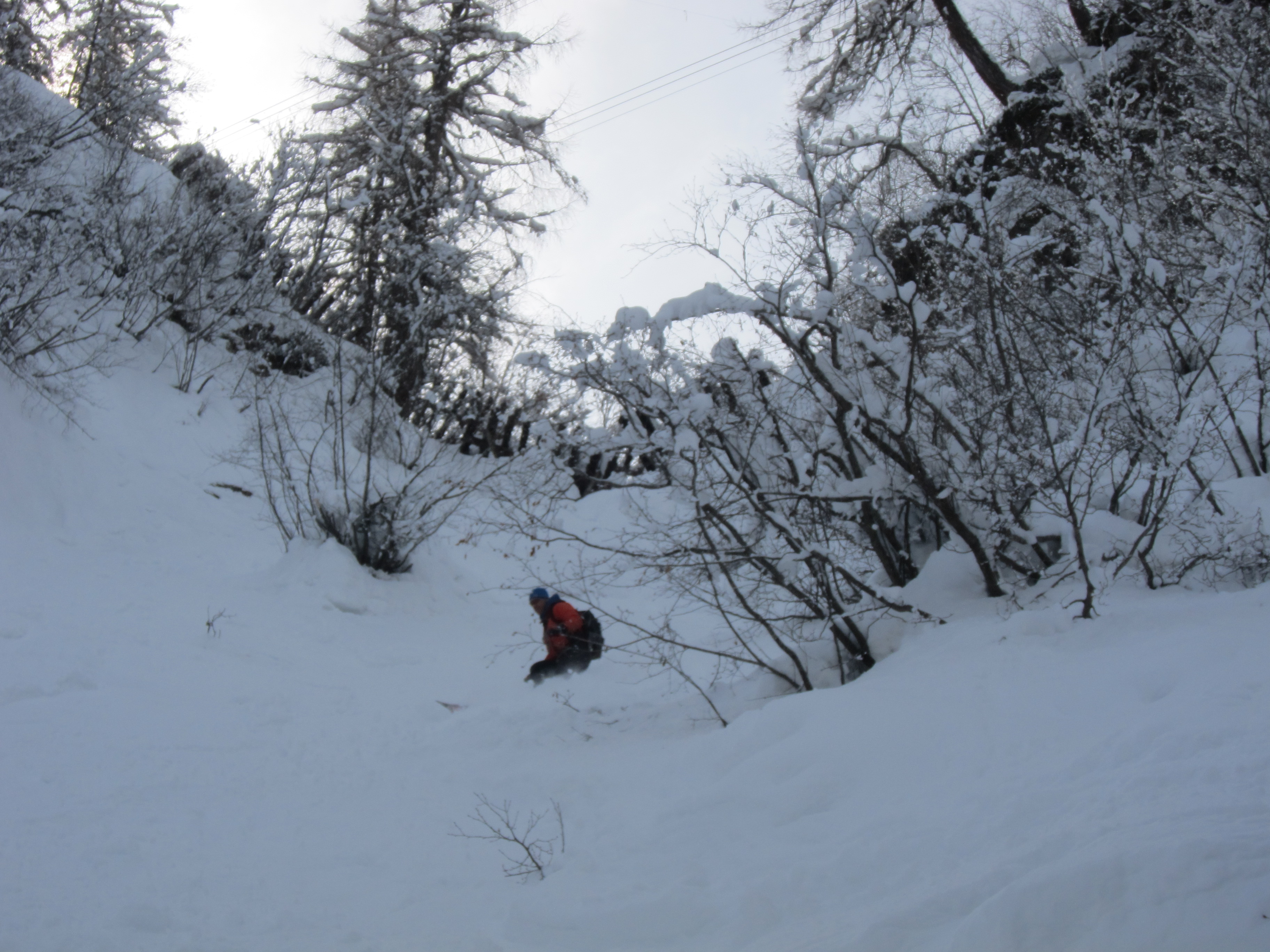 Nice snow on the north facing Couloir Philipe