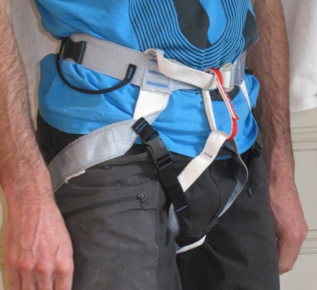 "Very lightweight alpine harness from Chamonix brand ""BlueIce"", no padding, super light."
