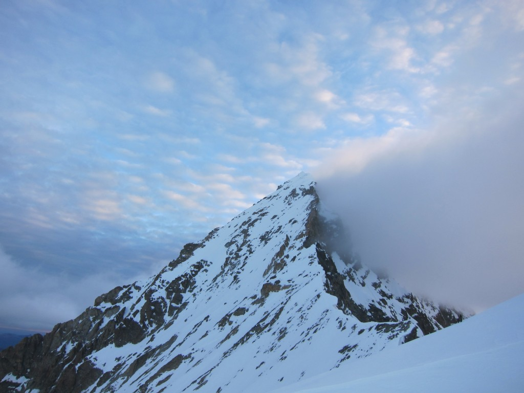 High winds blowing across the summit of the Dent Blanche