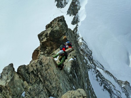 The crux pitch on the traverse of the Eveque