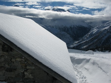 Looking across at the Chamonix skyline from the Loriaz refuge