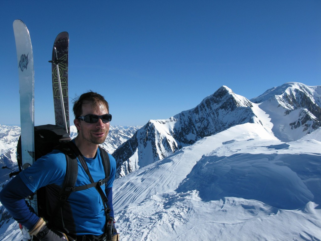 Summit photo, with Mont Blanc in the background