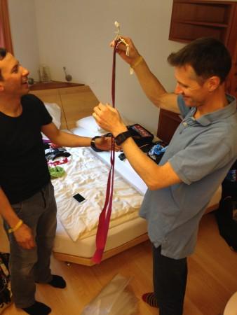 Misha and Ivor comparing skin length.