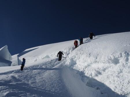 A large crevasse this year near the summit ridge.