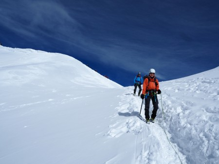 Descending the Aiguille du Midi arete