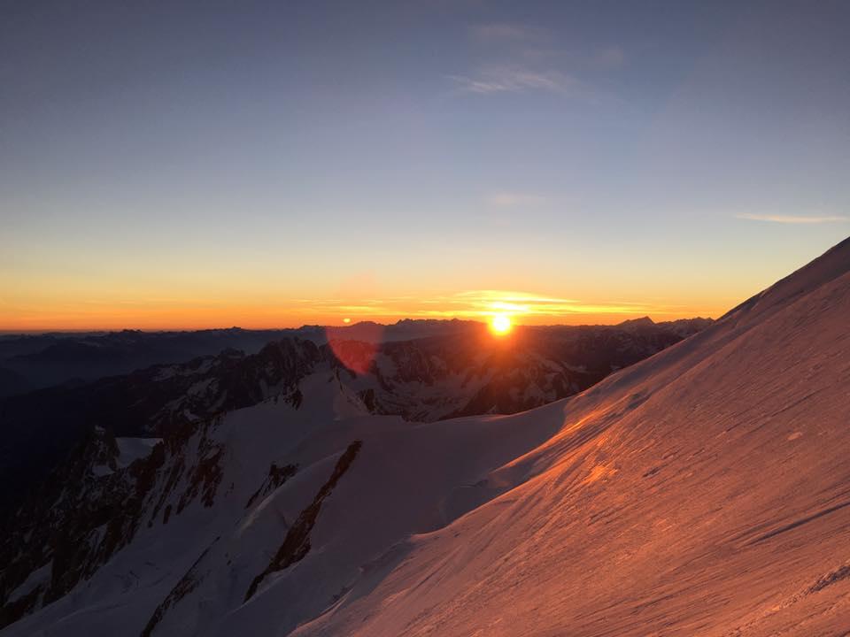 Dawn on Mont Blanc, near the Bosses ridge