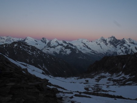 Dawn over the Valais peaks