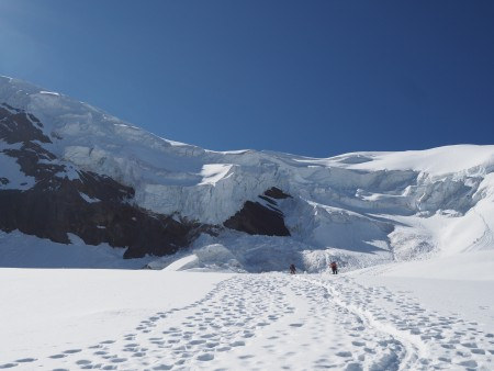 Looking up at the seracs and normal route, once we were well away from the ice cliffs