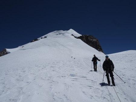 On our way down, looking back up at the Vallot refuge and summit