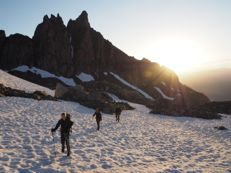 Sun coming up on the Trient Glacier - always a good time of day.