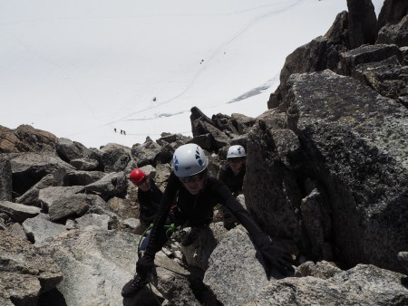 The last section of scrambling up to the Aiguille du Tour