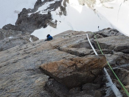 Fixed ropes on the slabs, Dent du Geant