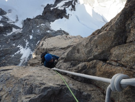 "Steep and strenuous ""climbing"" on the upper pitches."