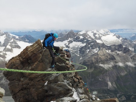 Just before the fixed ropes on the Matterhorn. Windy conditions.