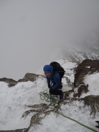 Tough conditions high up on the Hornli ridge, Matterhorn.