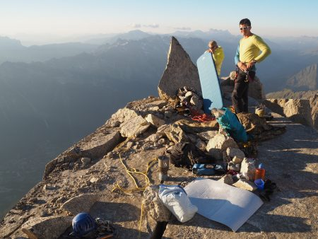 The five star bivouac ledge. Pretty flat and amazing views