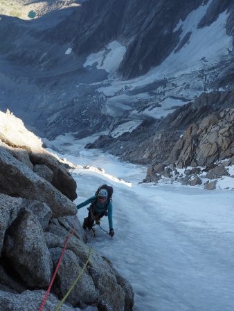 Almost there. Phoebe arriving at the belay just before the steeper ice pitch