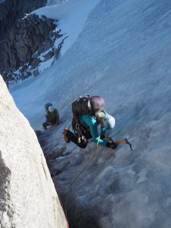 Pat and Phoebe climbing the steeper ice pitch at the top of the Frendo Spur